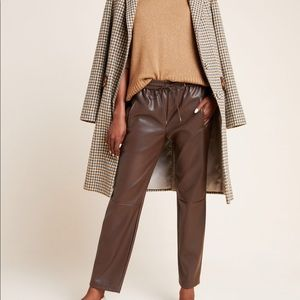 ANTHROPOLOGIE Brown Faux Leather Pants Size XS